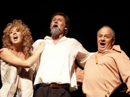 "Ali Guidry-Vellon, Mike Julian and Cliff Hall perform in the AMT 2002 production of ""Man of La Mancha"""